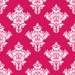 Floral seamless pink and white pattern