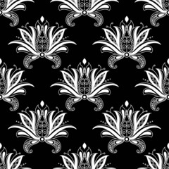 White colored floral arabesque seamless pattern