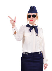 stewardess pointing finger