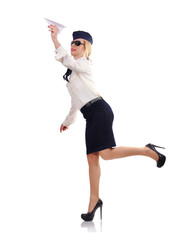 Stewardess with paper airplane