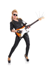 rocker girl with guitar