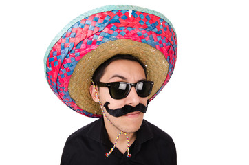 Funny mexican with sombrero hat