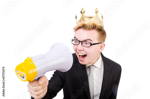 canvas print picture Man with crown and megaphone isolated on white