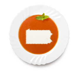 Plate tomato soup with cream in the shape of Pennsylvania.(serie