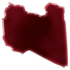 A pool of blood (or wine) that formed the shape of Libya. (serie