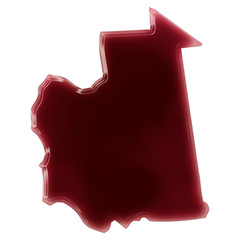 A pool of blood (or wine) that formed the shape of Mauritania. (