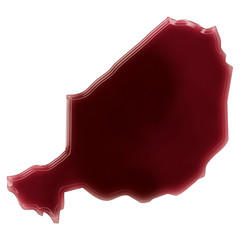 A pool of blood (or wine) that formed the shape of Niger. (serie