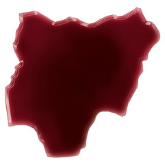 A pool of blood (or wine) that formed the shape of Nigeria. (ser