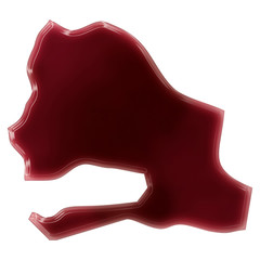 A pool of blood (or wine) that formed the shape of Senegal. (ser