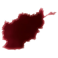 A pool of blood (or wine) that formed the shape of Afghanistan.
