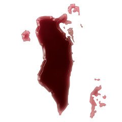 A pool of blood (or wine) that formed the shape of Bahrain. (ser