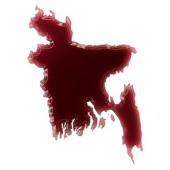 A pool of blood (or wine) that formed the shape of Bangladesh. (