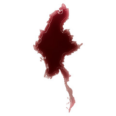 A pool of blood (or wine) that formed the shape of Burma. (serie