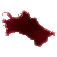 A pool of blood (or wine) that formed the shape of Turkmenistan.