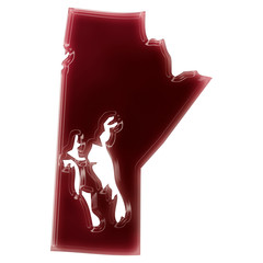 A pool of blood (or wine) that formed the shape of Manitoba. (se