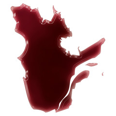 A pool of blood (or wine) that formed the shape of Quebec. (seri