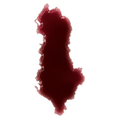 A pool of blood (or wine) that formed the shape of Albania. (ser