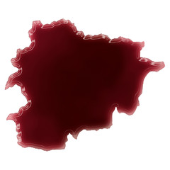 A pool of blood (or wine) that formed the shape of Andorra. (ser