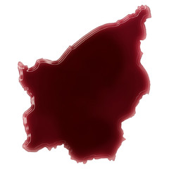A pool of blood (or wine) that formed the shape of San Marino. (