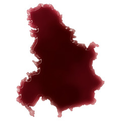 A pool of blood (or wine) that formed the shape of Serbia Monten