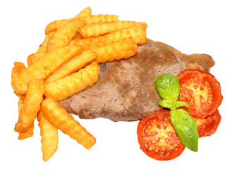Steak And Chips With Grilled Tomatoes