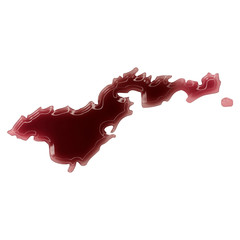 A pool of blood (or wine) that formed the shape of American Samo
