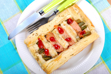 puff pastry pie with asparagus and salmon