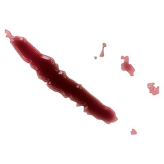 A pool of blood (or wine) that formed the shape of New Caledonia
