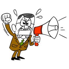 拡声器で叫ぶ中年ビジネスマン