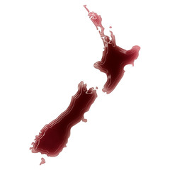 A pool of blood (or wine) that formed the shape of New Zealand.