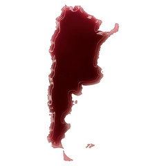 A pool of blood (or wine) that formed the shape of Argentina. (s