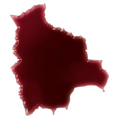 A pool of blood (or wine) that formed the shape of Bolivia. (ser