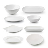 white ceramics plate and bowl isolated on white background - 67176616