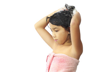 asian  girl shampooing her hair
