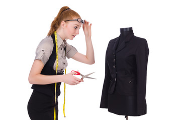 Female tailor isolated on the white