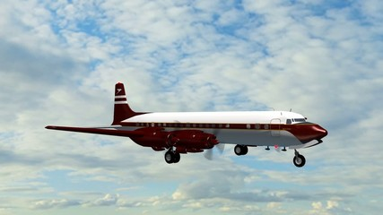 Douglas DC-7 Airplane in fly - close up