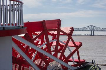New Orleans - Paddlewheel, River, and Bridge