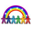 Teamwork people and glowing rainbow logo
