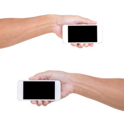 Man hand holding smartphone isolated on white background