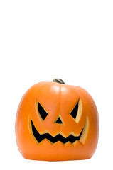 Scary Jack O Lantern halloween pumpkin isolated on white backgro