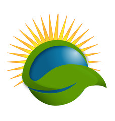 Sun green leaf energy concept logo vector