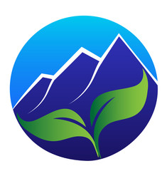 Mountains and green leafs logo vector