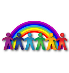 Teamwork children with rainbow logo vector