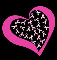 Heart and breast cancer ribbons logo vector