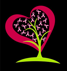 Breast cancer ribbons tree logo vector