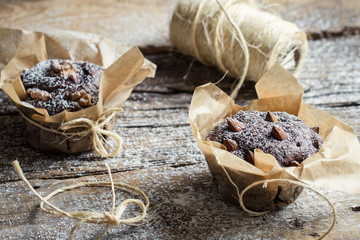 Chocolate muffins wrapping with string