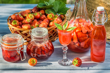 Various preparations of strawberries