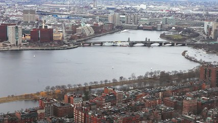 A view of the city of Boston, Massachusetts with the Charles Riv