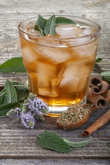 Homemade and healthy refreshing iced mint tea