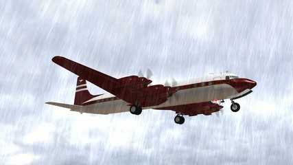 Douglas DC-7 Airplane fly in the rain - close up
